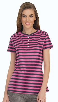 Cotton Comfy Striped T-Shirt In Pink Navy