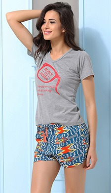 Cotton Crepe T-shirt & Shorts In Grey & Blue