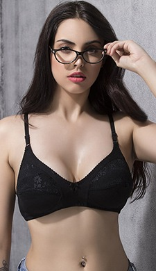 Cotton Rich Full Cup Lacy Bra - Black