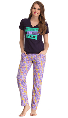 Cotton Graphic T-shirt & Pyjamas In Navy & Lavender