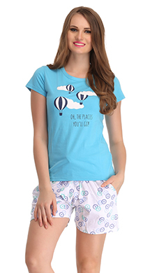 Cotton Graphic T-shirt & Printed Pyjamas In Blue & White