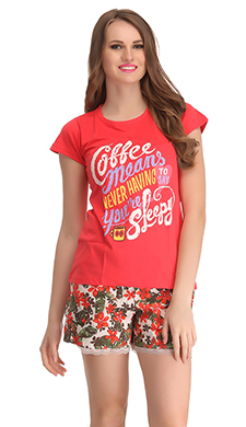 Cotton Graphic T-shirt & Printed Shorts In Reddish Pink & Brown