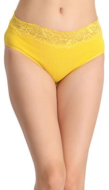 Cotton High-Waist Hipster With Lace At Waist - Yellow