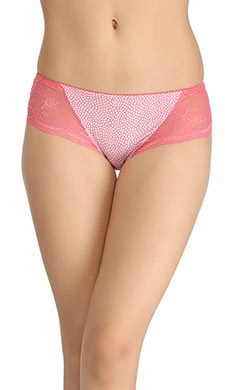 Cotton High-Waist Hipster With Trimmed Elastic - Pink