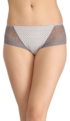 Cotton High Waist Printed Hipster With Lacy Side Wings - Grey