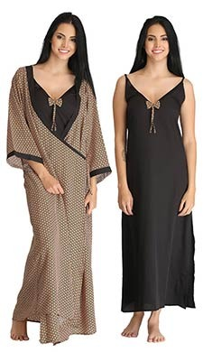 Crepe Long Nightie & Printed Robe Set - Black