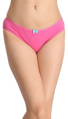 Cotton Low-Waist Bikini With Bow - Pink