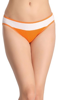 Cotton Low-Waist Bikini With Contrasting Waist