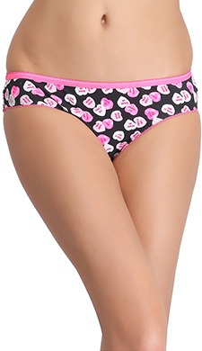 Cotton Low Waist Heart Print Bikini Panty