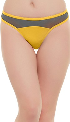 Cotton Low Waist Thong With Contrast Powernet