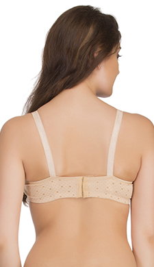 Cotton Spandex Padded Non-Wired Bra In Skin