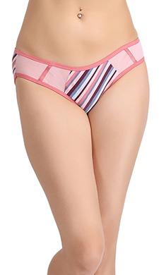 Cotton Mid Waist Striped Bikini