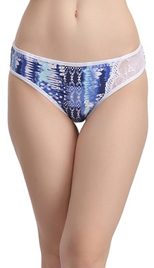 Cotton Mid Waist Bikini Panty with Lace Side