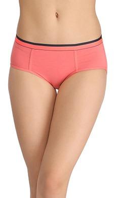 Cotton Mid-Waist Bikini With Contrast Band - Pink