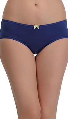 Cotton Mid Waist Bikini With Contrast Bow At Centre - Blue - 43004
