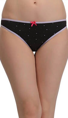 Cotton Mid Waist Bikini With Contrast Bow - Black