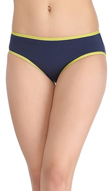 Cotton Mid Waist Bikini With Contrast Elastic - Blue