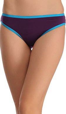 Cotton Mid Waist Bikini With Contrast Elastic Trims - Purple