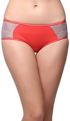 Cotton Mid Waist Bikini With Contrast Lace - Orange