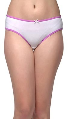 Cotton Mid-Waist Bikini With Contrast Elastic Bands - White