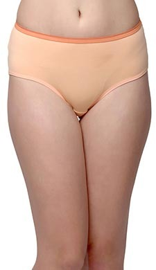 Cotton Mid-Waist Hipster With Contrast Waist Band - Orange