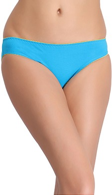 Cotton Mid Waist Bikini With Trimmed Elastic