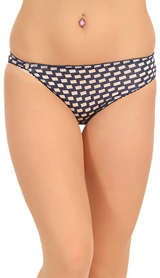 Cotton Mid Waist Bikini With Trimmed Elastic - Blue