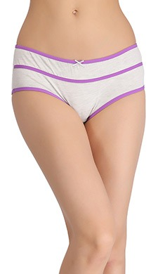 Cotton Mid-Waist Hipster With Contrast Band Design - Grey - 45965