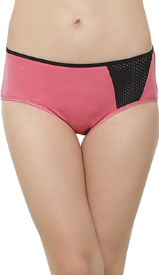Cotton Mid Waist Hipster With Perforated Panel