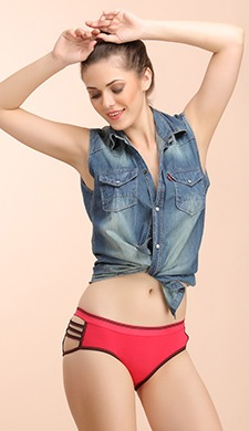 Cotton Mid Waist Hipster With Stringy Side - 56369