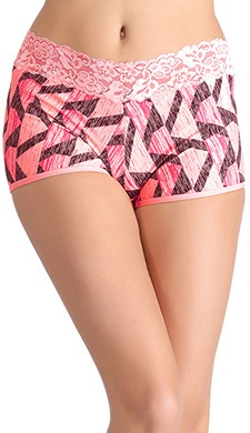 Cotton Mid Waist Printed Boyshorts With Lace Waistband - 50276