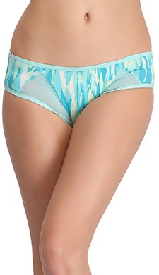 Cotton Mid Waist Printed Hipster Panty with Powernet Detail