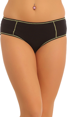 Cotton Mid Waisted Hipster With Contrast Interlock Design - Green