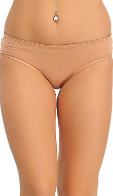 Cotton Mid Waisted Hipster - Brown