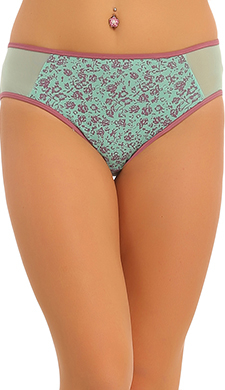Cotton Mid Waist Hispter With Powernet Side Waist - Green