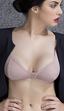Cotton Non-Padded Wirefree Demi Cup Bra - Beige