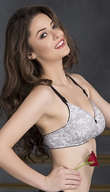 Cotton Non-Wired Printed T-shirt Bra with Multiway Straps