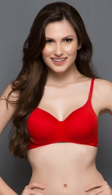 Cotton Padded Non-Wired T-Shirt Bra In Red