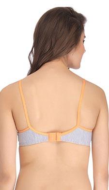 Cotton Non-Padded Wirefree Demi Cup Bra - Orange