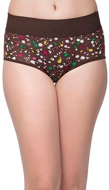 Cotton Printed High Waist Tummy Tucking Bikini - Brown