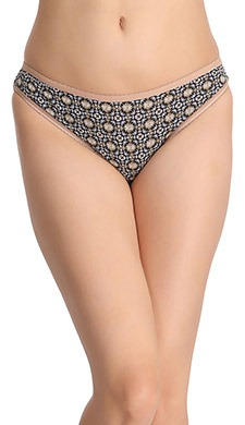 Cotton Printed Low-Waist Bikini - Black