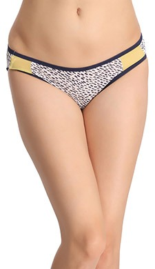 Cotton Printed Low-Waist Bikini With Contrast Powernet Side Wings - Blue
