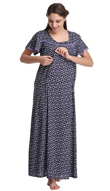 Cotton Printed Maternity Nighty