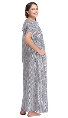 Cotton Chevron Print Maternity Nighty