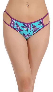 Cotton Printed Mid-Waist Bikini With Cut-Out Side Wings