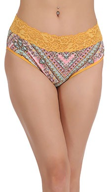 Cotton Printed Mid-Waist Bikini With Lace Band