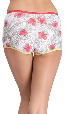 Cotton Printed Mid-Waist Boyshorts with Contrast Elastic