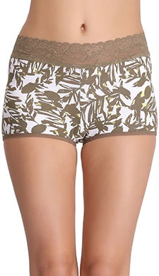 Cotton Printed Mid-Waist Boyshorts With Lace Waistband