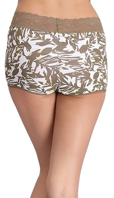 Cotton Printed Mid-Waist Boyshorts with Lace Band