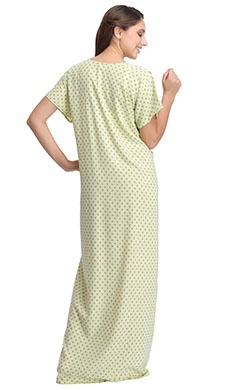 Cotton Polka Print Nighty with Embroidered Yoke